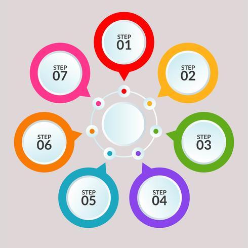Infografisk mall för cirkelanslutning för användning i arbetsflödesdiagramaffischen vektor