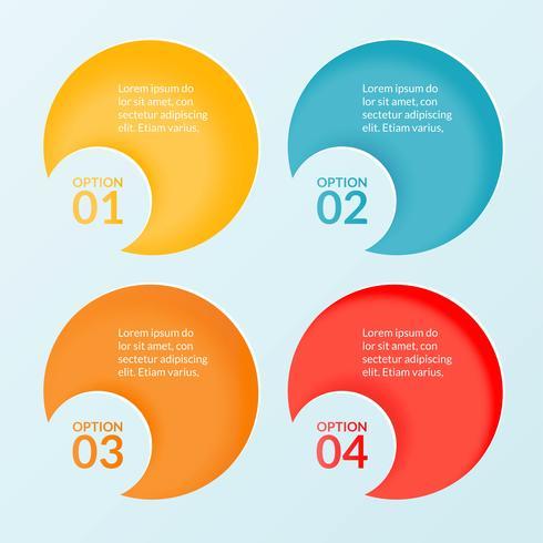 Infografik-Vorlage mit vier Schritten, Optionen oder Arbeitsablaufdiagramm vektor