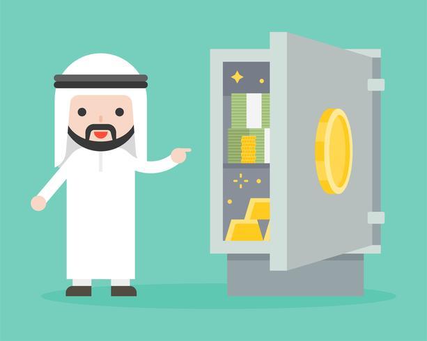 Arabischer Geschäftsmann, der Banknote und Gold im sicheren Kasten zeigt vektor