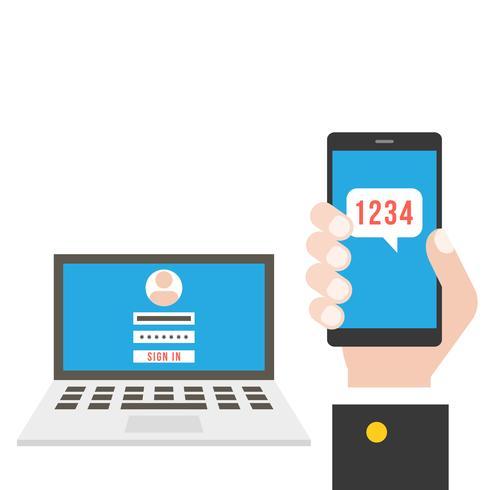 Business hand som håller smart telefon och ansluter till bärbar dator vektor