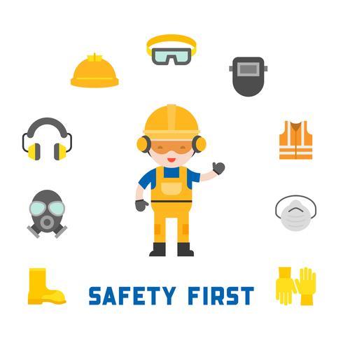 industriell säkerhet och skyddsutrustning för arbetstagare vektor
