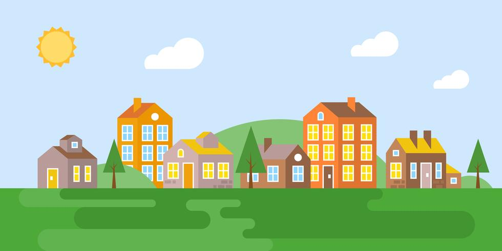 Stadtlandschaft, Dorf im Sommer, flaches Design vektor