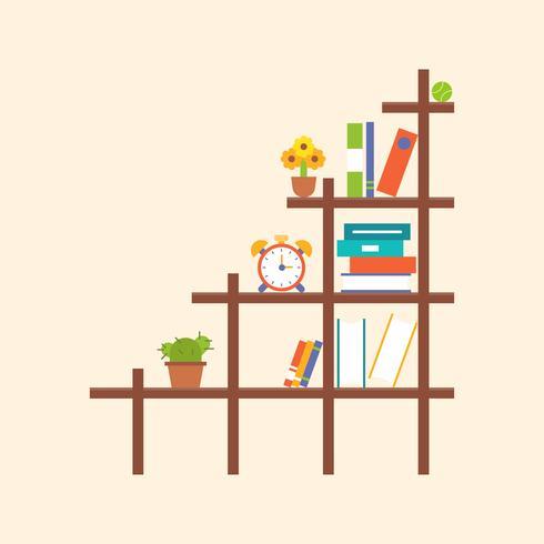 trä bokhylla och element, platt design vektor