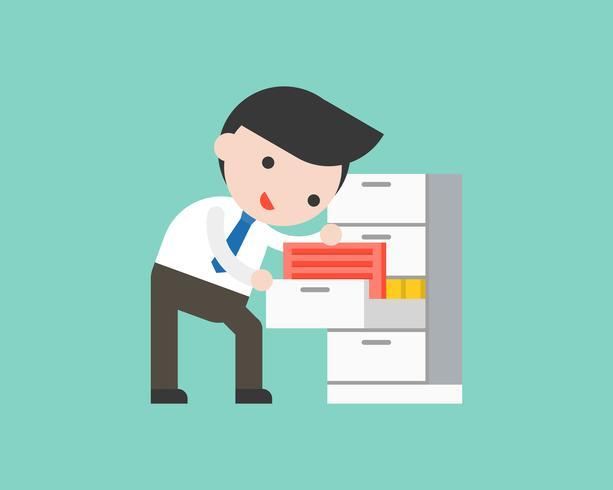 Kaufmann Dokumentdateien in der Schublade finden, gebrauchsfertig Charakter Bürosituation vektor