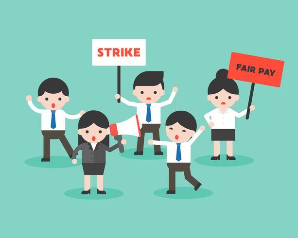 Grupp affärsmän protesterar mot rättvis lön, affärssituation redo att användas vektor