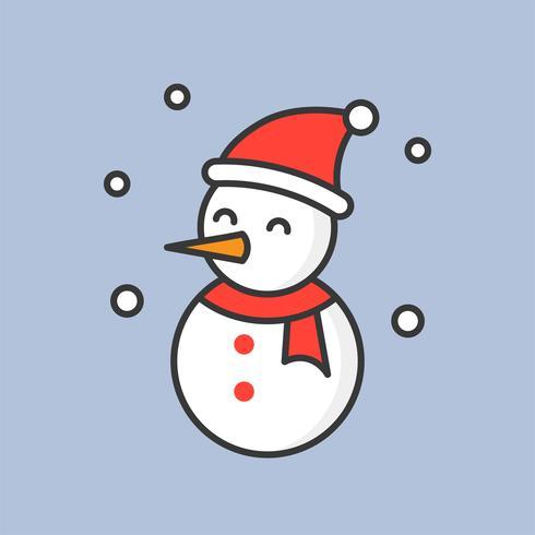 Schneemann und Schnee fallen, gefüllte Konturikone für Weihnachtsthema vektor