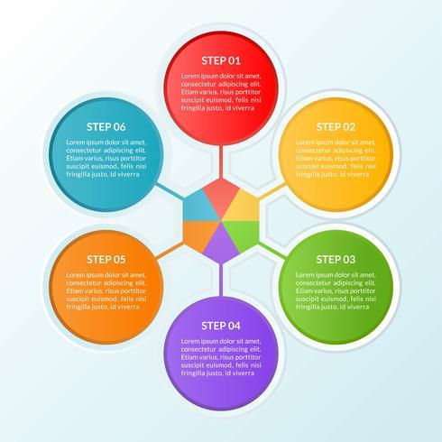 Infografisk mall för steg eller arbetsflödesdiagram med 6 cirklar vektor