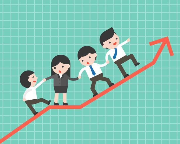 Affärsmän grupp hjälper team att klättra upp graf, affärsidé vektor