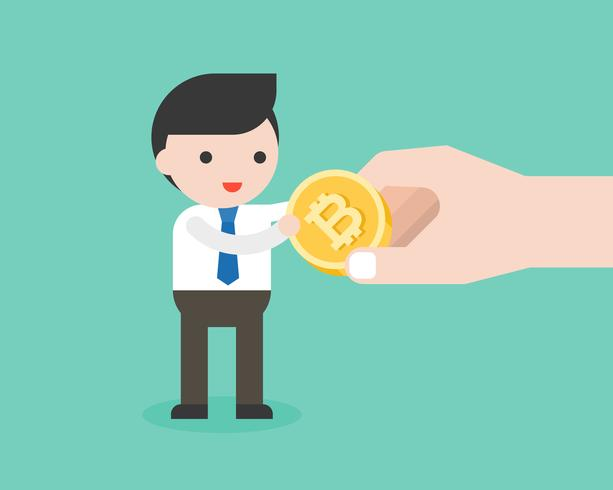 Affärsman får bitmynt från stor hand, cryptocurrency lönekoncept vektor