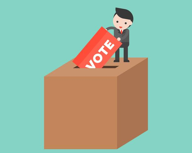 Liten man släppa omröstning i stor låda, rösta och valkoncept vektor