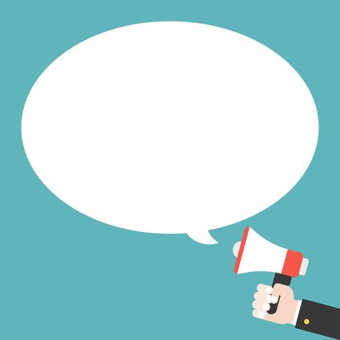 Geschäftshand, die Megaphon und leere Spracheblase hält vektor