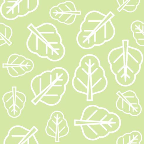 Kinesisk kale eller spenat lämnar konturer sömlösa mönster vektor