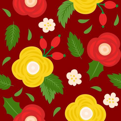 blommigt sömlöst mönster, platt design för användning som bakgrund vektor