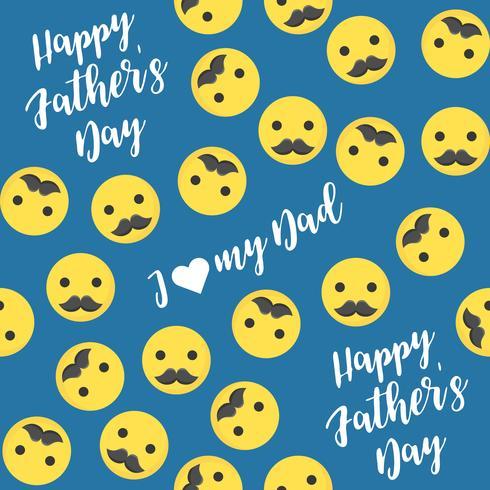 Glücklicher Vatertag des nahtlosen Musters mit Emoji und dem Schnurrbart vektor