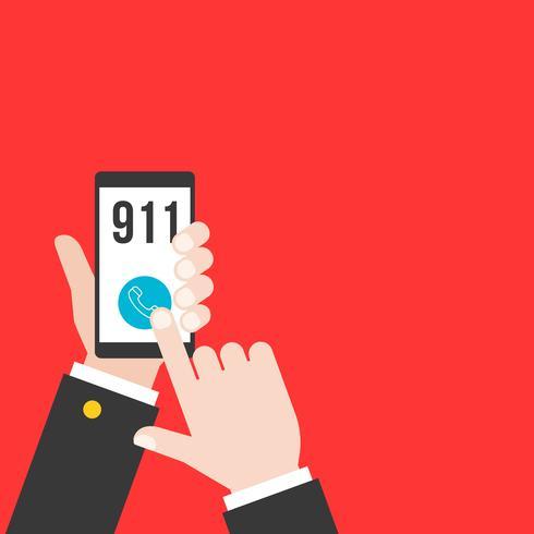 Geschäftshand, die intelligentes Telefon anrufende Polizei 911 von der Anwendung, flaches Design hält vektor