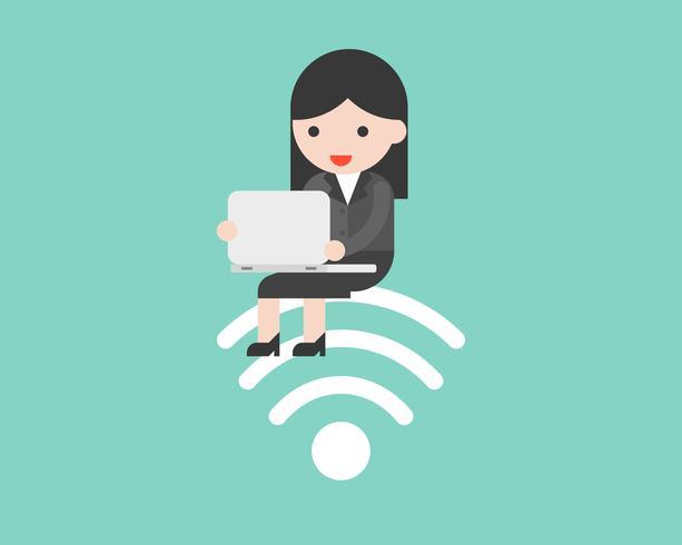 Geschäftsleute, die auf WLAN-Symbol sitzen und mit Laptop arbeiten vektor