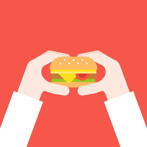 hand som håller ostburger, snabbmatkoncept platt design vektor
