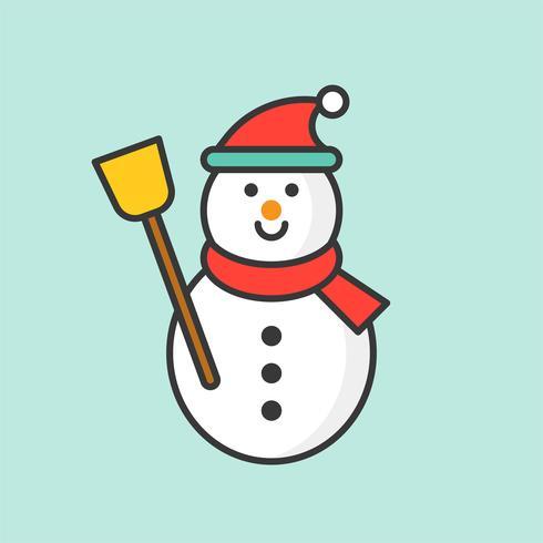 Snögubbe med Santa hatt, fylld kontur ikon för jul tema vektor