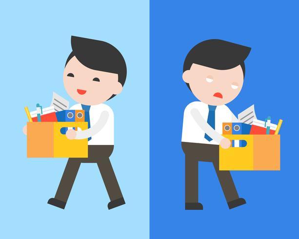Glücklicher Geschäftsmann und gelangweilter Geschäftsmann tragen einen Dokumentenkasten vektor