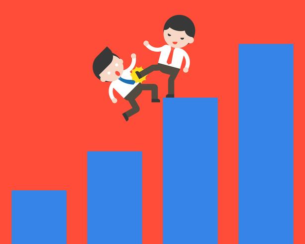 Affärsman sparkar en annan affärsman ur sin graf, tävlings koncept vektor