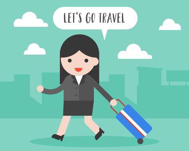 Affärskvinna dra rese bagage, låt oss gå resekoncept vektor