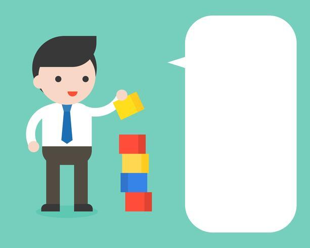 Affärsman med block pussel och blank bubbla tal vektor