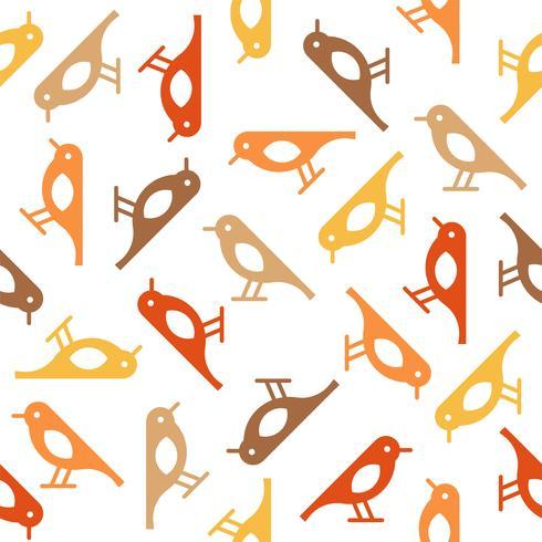färgglada söta fågel sömlösa mönster, fall tema vektor