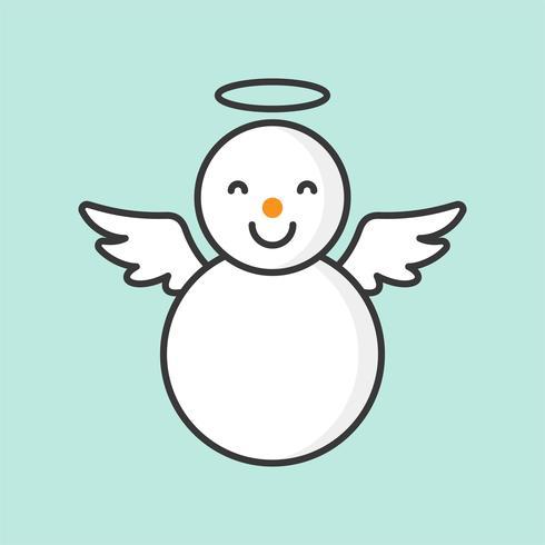 snögubbe med ängelring och vingar, fylld konturikon för jultema vektor