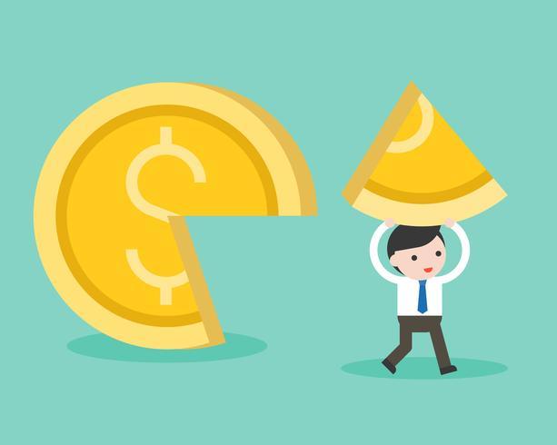 Affärsman plocka en bit guldmynt, marknadsandel affärsidé vektor
