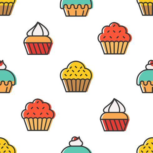 Nahtloses Muster des bunten netten kleinen Kuchens für Verpackungspapiergeschenk vektor