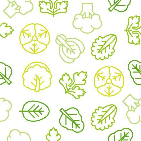 Seamless Outline vegetabiliskt mönster som broccoli, sallad vektor