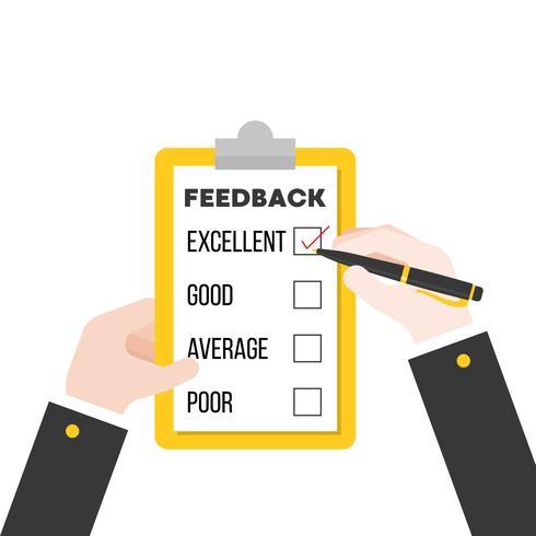 Business-Hand überprüfen Feedback-Fragebogen, flaches Design vektor