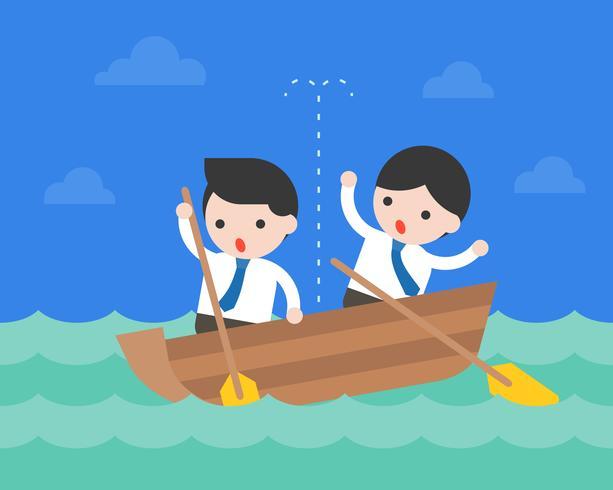 Geschäftsmann im kleinen undichten Boot im Ozean, Krisengeschäftslagekonzept vektor