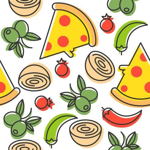 Pizza och ingredienser sömlöst mönster, konturer stil vektor