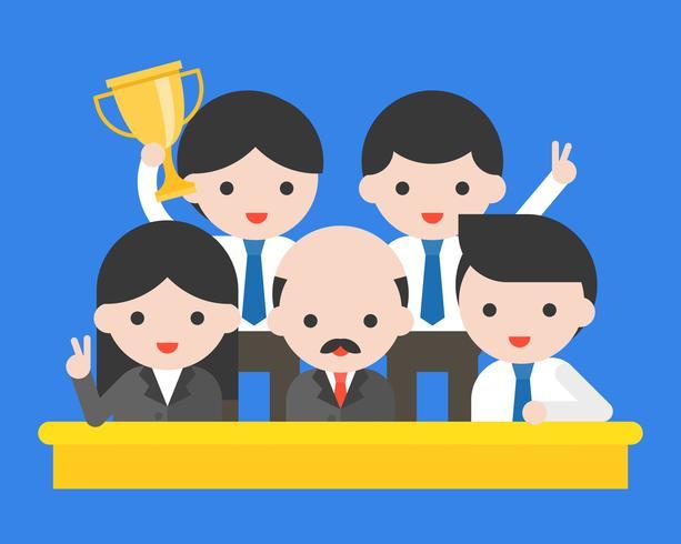 Gruppe glückliche Geschäftsleute, CEO und sein gewinnender Preis des Teams vektor