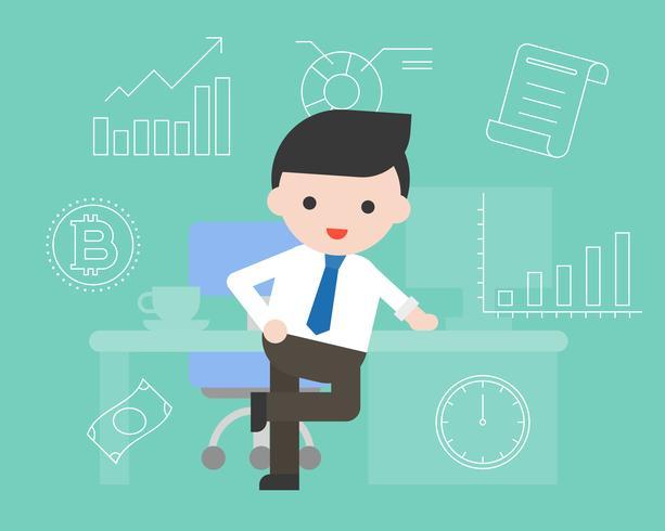Intelligenter Geschäftsmann mit Schreibtisch- und Geschäftssymbolikone, flaches Design vektor