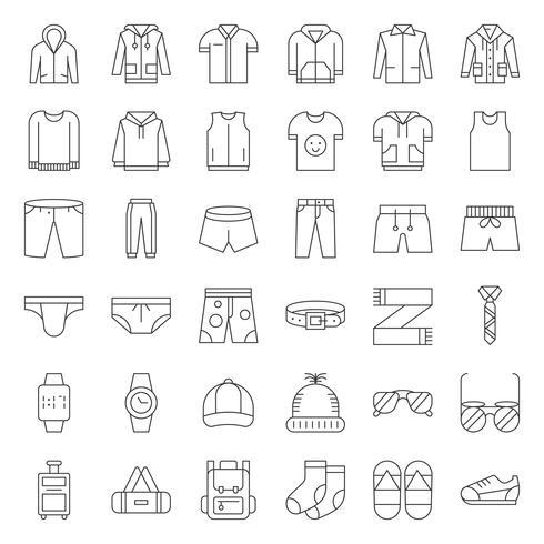 Herrkläder och accessoarer Tunnlinje ikonuppsättning 2 vektor