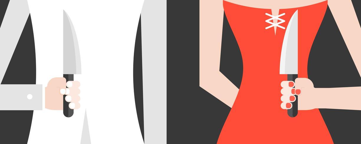 Backstabbing weißer Klagenmann und rote Kleidfrau vektor