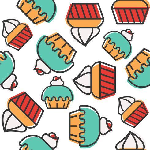 Nahtloses Muster des kleinen Kuchens für Gebrauch als Hintergrund oder Geschenkpapier vektor