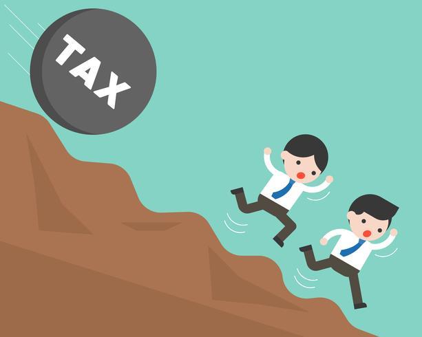 Geschäftsmann zwei, der vom Rollenstein mit dem Steueralphabetfallen läuft vektor