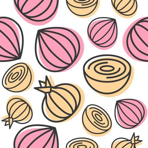 Nahtloses Mustergemüse der Zwiebel für Gebrauch als Tapete oder Hintergrund vektor