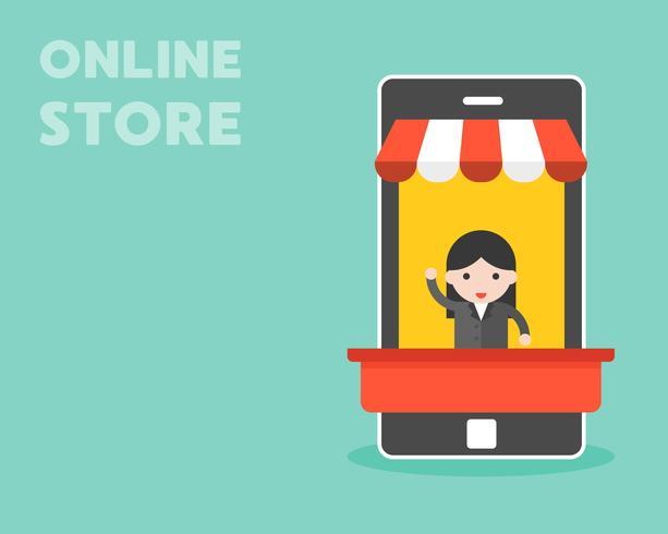Affärskvinna i mobilstall, online butikskoncept vektor