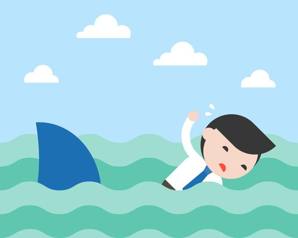 Geschäftsmann, Schwimmen, Hai zu entkommen, flaches Design vektor
