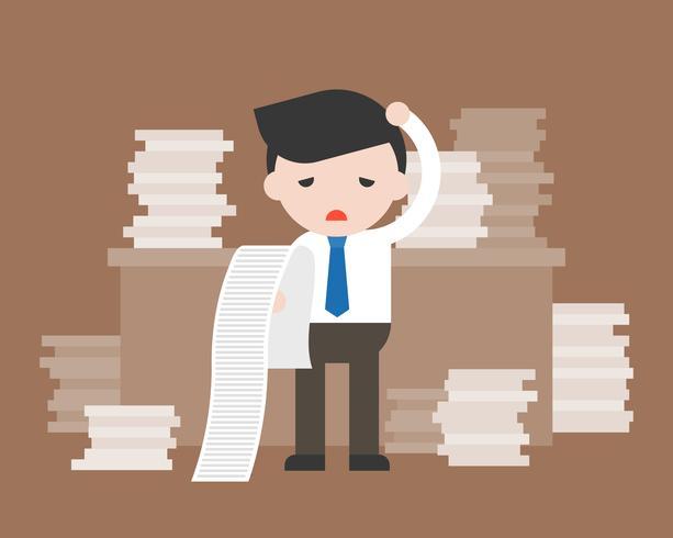 Affärsman som håller och läser ett långt papper av rapport känner sig förvirrad vektor