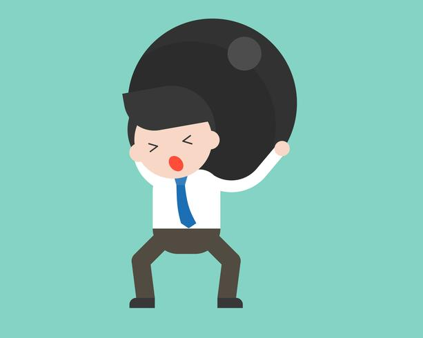 Deprimerad Affärsman eller chef lyfter stor hård järnboll över ryggen, bördan koncept vektor