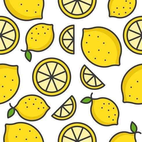 Citron och citronskiva Tropisk Frukt sömlös mönster vektor
