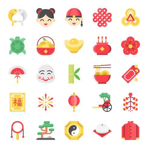 Kinesiskt nytt år platt söt ikon, 128 px på nätet system set 2/2 vektor