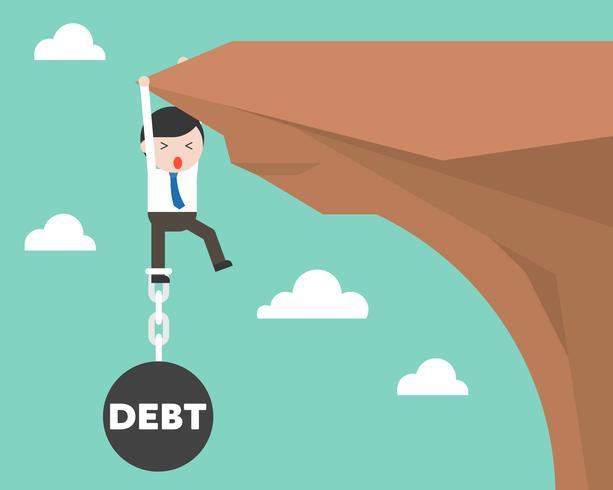 Geschäftsmann angekettet mit dem Schuldeneisenball, der an der Klippe hängt vektor
