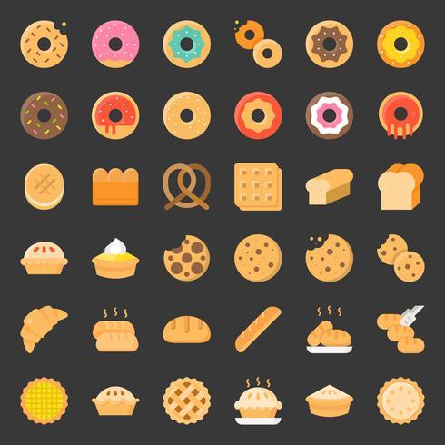 Bröd, munk, paj, bageriprodukt, platt ikonuppsättning vektor