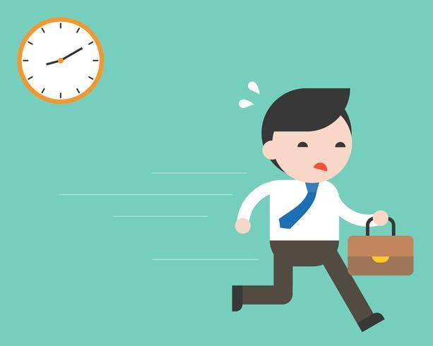 Affärsman skyndar på jobbet med klocka, platt design vektor